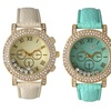 Women's Free-Floating Crystal Watch with Leather Strap