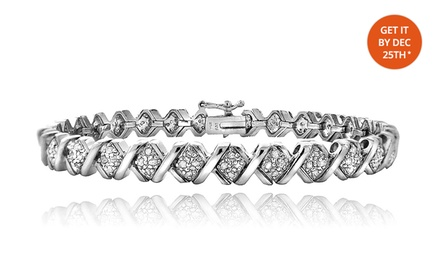 1-ct.tw. Diamond and Silver Tone X-Link Tennis Bracelet. Free Returns.