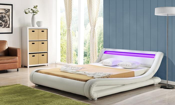 Lederlook Design Bedden Met LED-verlichting | Groupon Goods