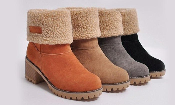 Women's Faux Suede Fold Over Block Heeled Boots