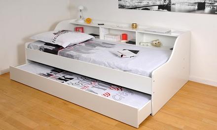 Lit etag re tiroir lit groupon shopping for Lit une place et demi