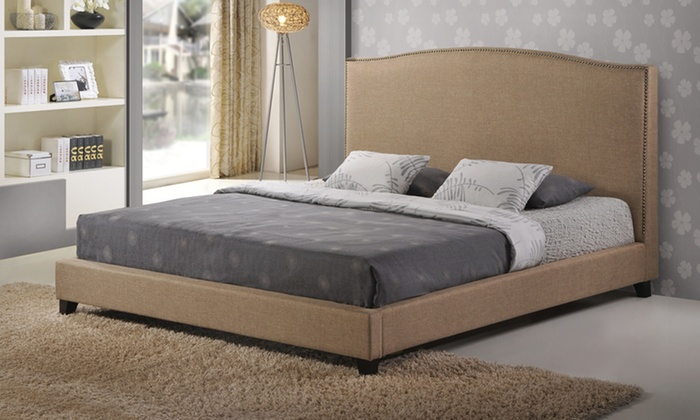 Modern Linen or Fabric Platform Bed: Up to 46% Off a Modern Linen or Fabric Platform Bed