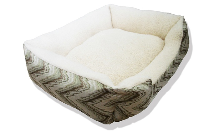 Beatrice Plush Bolstered Pet Bed: Beatrice Plush Bolstered Pet Bed in Blue, Gray, or Sage. Free Shipping.