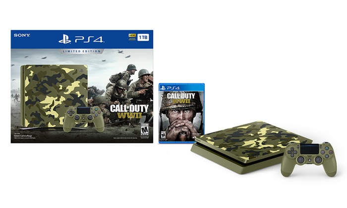ps4 console with call of duty wwii limited edition bundle groupon. Black Bedroom Furniture Sets. Home Design Ideas