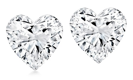 2.00 CTW Cubic Zirconia Heart Stud Earrings in Sterling Silver
