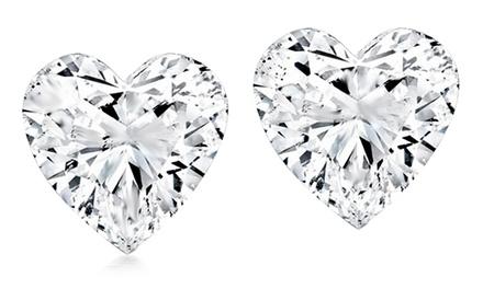 2.00 CTW Cubic Zirconia Heart Stud Earrings in Sterling Silver