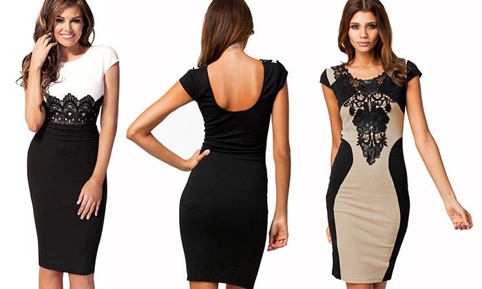 Goods Kleid Mit SpitzeGroupon Goods Elegantes SpitzeGroupon Elegantes Kleid Mit 0OnwkP