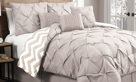 Ella Pinch-Pleat Reversible-Comforter Set (7-Piece)
