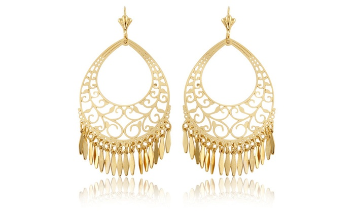 Sevil 18K Gold Plated Filigree Fringe Chandelier Earrings | Groupon