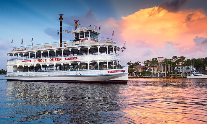 Jungle Queen Riverboat - Bahia Mar Yachting Center: Sightseeing or Dinner Show Cruise for Two or Four from Jungle Queen Riverboat (Up to 39% Off)