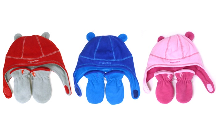 Rugged Bear Kids' Fleece Hat and Mitten Set: Rugged Bear Fleece Hat and Mitten Set for Infants or Toddlers. Multiple Colors Available.