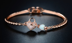 Lab-Created Opal Heart & Key Bangle By Peermont