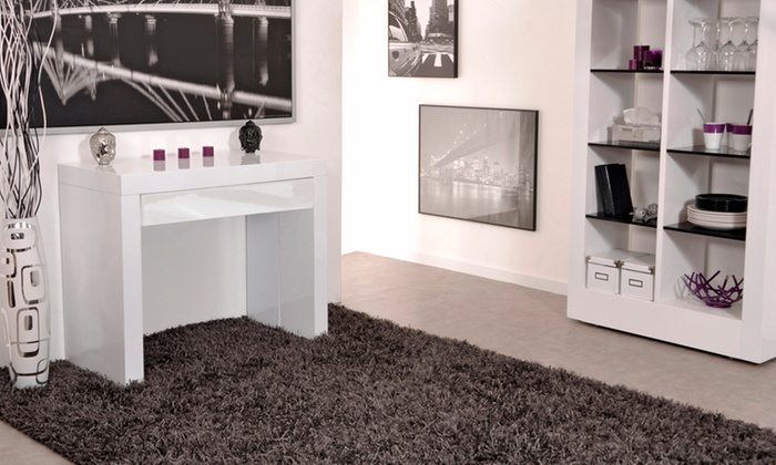 console extensible avec tiroir groupon shopping. Black Bedroom Furniture Sets. Home Design Ideas