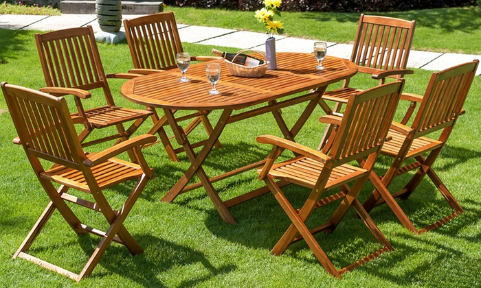 Salon De Jardin Bois D 39 Acacia Marron Groupon Shopping