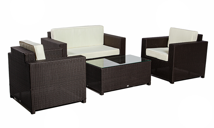 Gartensitzgruppen in rattan optik groupon goods for Terrassenmobel polyrattan