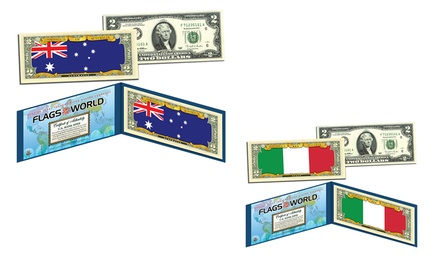 Flags of the World Colorized US $2 Bill