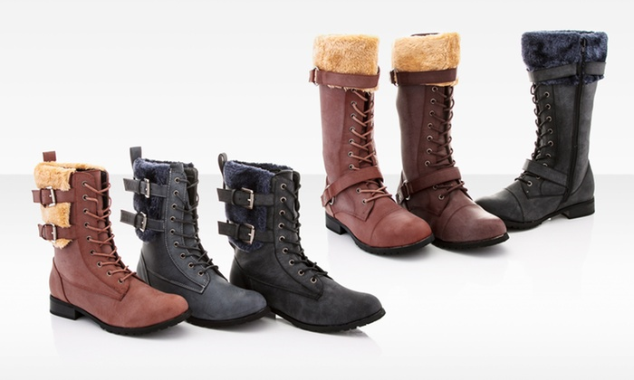 Rasolli Fur Cuff Combat Boots: Rasolli Fur Cuff Combat Boots. Multiple Styles Available. Free Shipping and Returns.