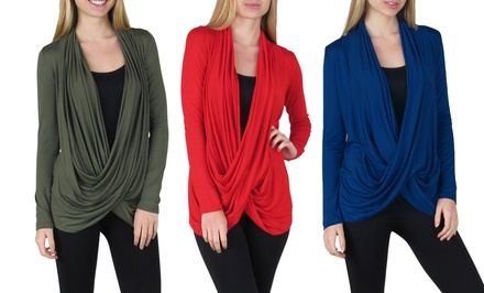 Free to Live Plus-Size Crisscross Cardigan