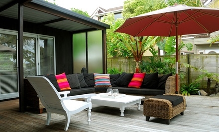 groupon daily deal - 9' Wood Patio Umbrella. Multiple Colors Available. Free Returns.