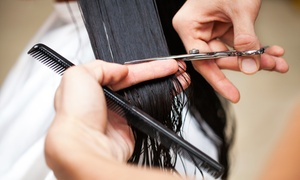Shrine Hair & Yoga: Blowout, Haircut, and Highlights at Shrine Hair & Yoga (Up to 62% Off). Three Options Available.
