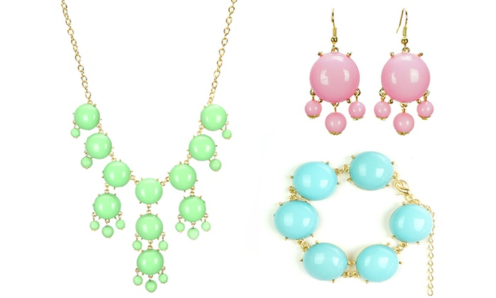 3-Piece Bubble Jewelry Set: 3-Piece Necklace, Bracelet, and Earring Bubble Jewelry Set. Multiple Colors Available. Free Returns.