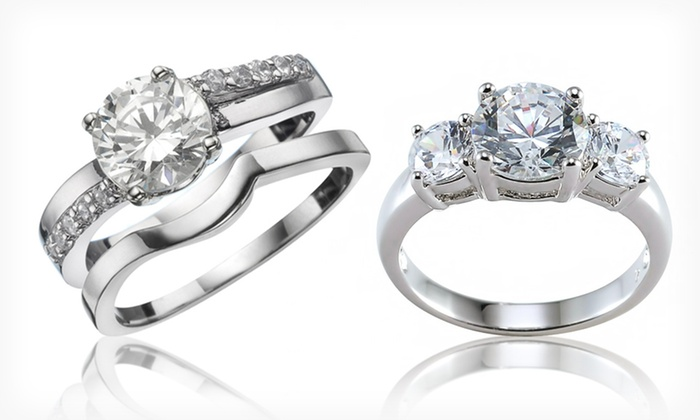 Rhodium-Plated Engagement and Wedding Rings: $8.99 for Cubic Zirconia and Rhodium-Plated Brass Engagement or Wedding Ring Sets ($52.99 List Price). Free Returns.