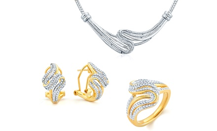 1/2 CTTW Diamond Jewelry Set with Ring, Necklace, and Earrings in Silver or Yellow Gold Plating