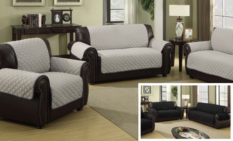 Water-resistant Quilted Reversible Furniture Slipcover for Chair, Loveseat, or Sofa