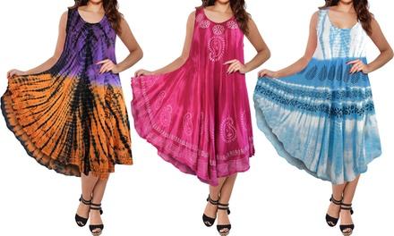 Tie-Dye A-Line Umbrella Dress