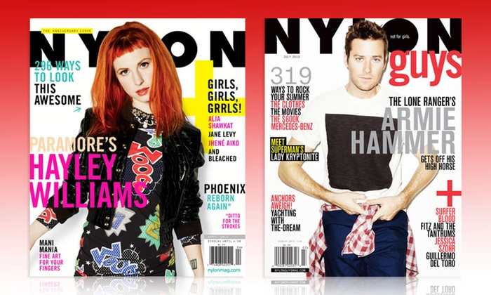 Nylon or Nylon Guys Magazine Subscription: $5 for a1-Year Subscription to Nylon or Nylon Guys Magazines(Up to $9.97 List Price). Free Shipping.