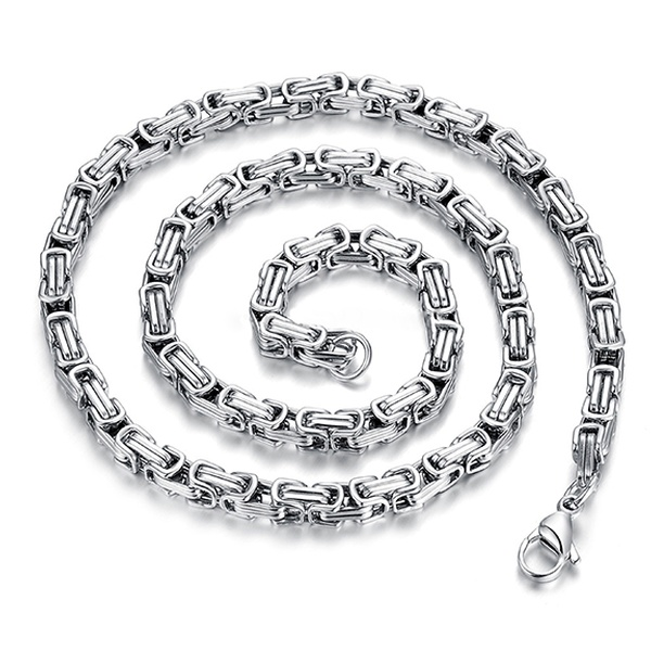 Men's Square Byzantine Chain in Stainless Steel