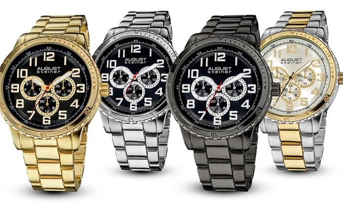 August Steiner Men's Quartz Multifunction Watches: August Steiner Men's Quartz Multifunction Watches. Multiple Styles Available. Free Shipping and Returns.