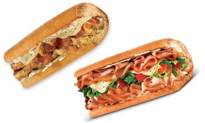 Quiznos: $7.50 for Two Small Subs at Quizinos (Up to a $11.98 Total Value). Additional Options Available.