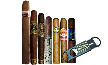 Seasonal Cigar Sampler with 7 Cigars and Single-Blade Cutter from Gotham Cigars