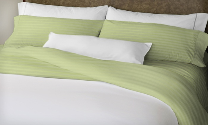 Hotel New York Microfiber-Sheet Set: $22 for a Hotel New York Dobby-Stripe Microfiber-Sheet Set ($69.99 List Price). Multiple Colors and Sizes Available.