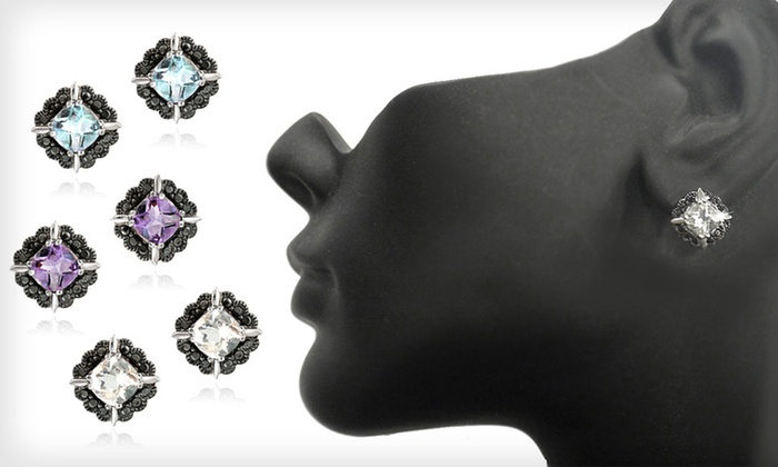 Gemstone and Diamond Stud Earrings: $19 for One Pair of Gemstone and Diamond Earrings ($75 List Price). Three Options Available. Free Shipping and Returns.