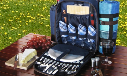Blue Picnic Backpack with an Insulated Cooler, Plaid Blanket, and Picnic Essentials for Four