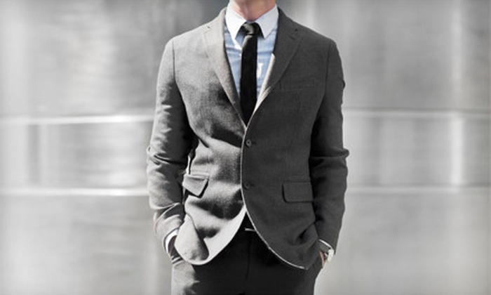 The Place For Men - Calgary: Suit, Shirt, and Tie Package, or Italian Silk Tie at The Place For Men (Up to 52% Off)