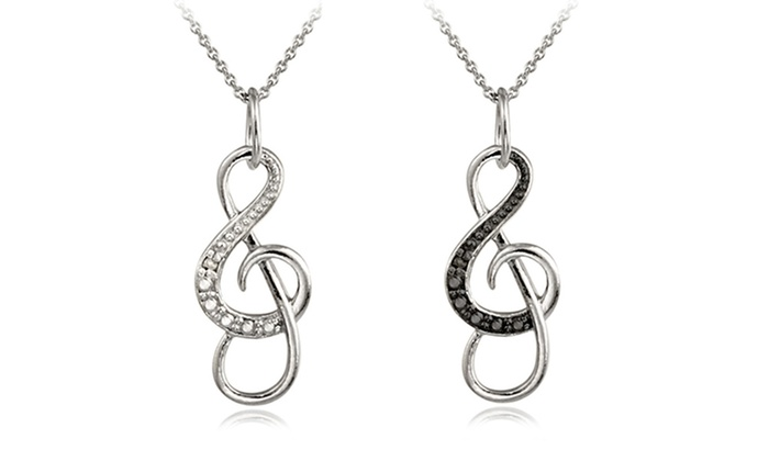 Music note pendant necklace groupon goods sterling silver diamond accent musical note pendant necklace aloadofball Choice Image