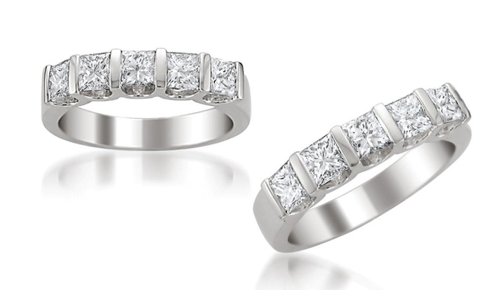 1 1/2 Ct. T.W. Princess-Cut Diamond Band in 14K Gold - By Aurora Diamond Collection: 5-Stone 1.5-Carat Diamond Wedding Band in 14-Karat White Gold. Free Shipping and Returns.