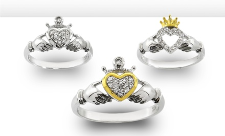 groupon daily deal - Sterling Silver and Cubic Zirconia Claddagh Rings. Multiple Styles Available.