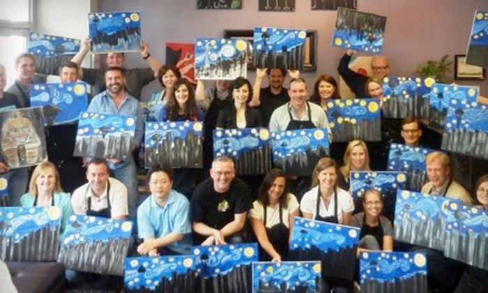Palettes and Pairings - Multiple Locations: Painting Class with Beer or Wine for One, Two, or Four at Palettes and Pairings (Up to 53% Off). All Supplies Included.