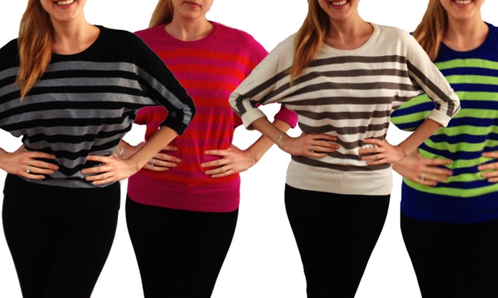 Lila Rose Striped Sweaters: Lila Rose Striped Sweaters with 3/4-Length Sleeves. Multiple Colors Available. Free Shipping and Returns.