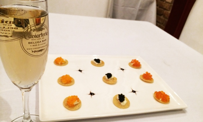 Caviarteria - Tribeca: Caviar on Blinis or American Sturgeon Caviar and Sparkling Wine for Two at Caviarteria (Up to 40% Off)