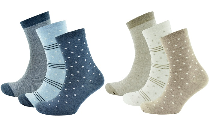 One or Two Three-Packs of Women's Diabetic Cotton Blend Socks