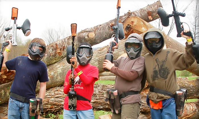 Pev's Paintball - Aldie: All-Day Play and Equipment Rental for Three or Four at Pev's Paintball (Up to85% Off)