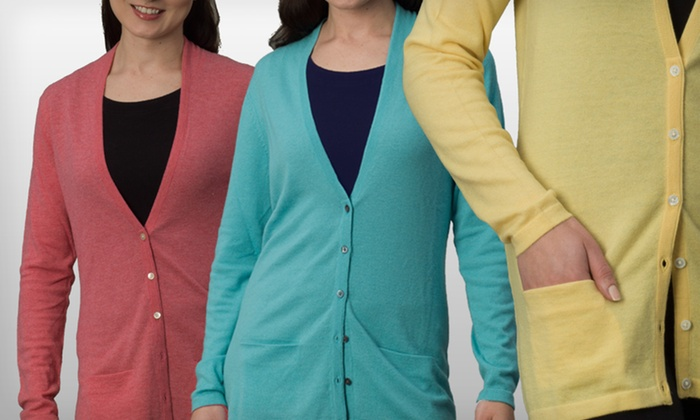 Women's Cashmere Mendocino Cardigan: $29.99 for a Women's Cashmere Mendocino Cardigan Sweater in Pink, Teal, or Yellow ($175 List Price)