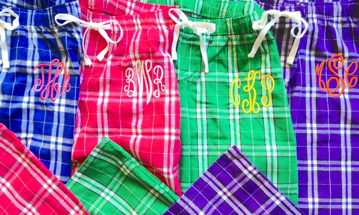 Embellish Accessories and Gifts: One, Two, or Four Pairs of Monogrammed Lounge Pants from Embellish Accessories and Gifts (Up to 58% Off)