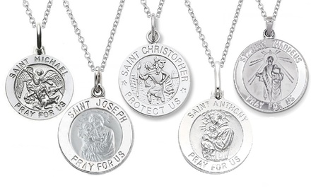 Italian Sterling Silver Saint Medallion Pendant Necklaces