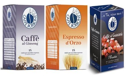 Fino a 216 cialde di caffè d'orzo, ginseng o guaranà Borbone